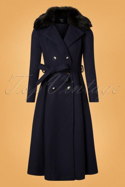 Bright And Beautiful Navy Caron Plain Coat 152 31 25497 20181031 008W