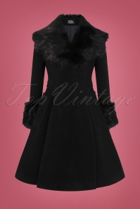 Hearts & Roses 50s Fiona Coat in Black