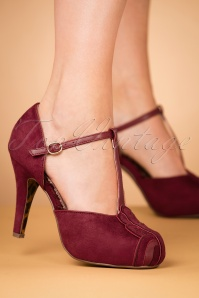 Bettie Page Shoes Emile Burgundy T strap Pumps 401 60 25805 10242018 002W