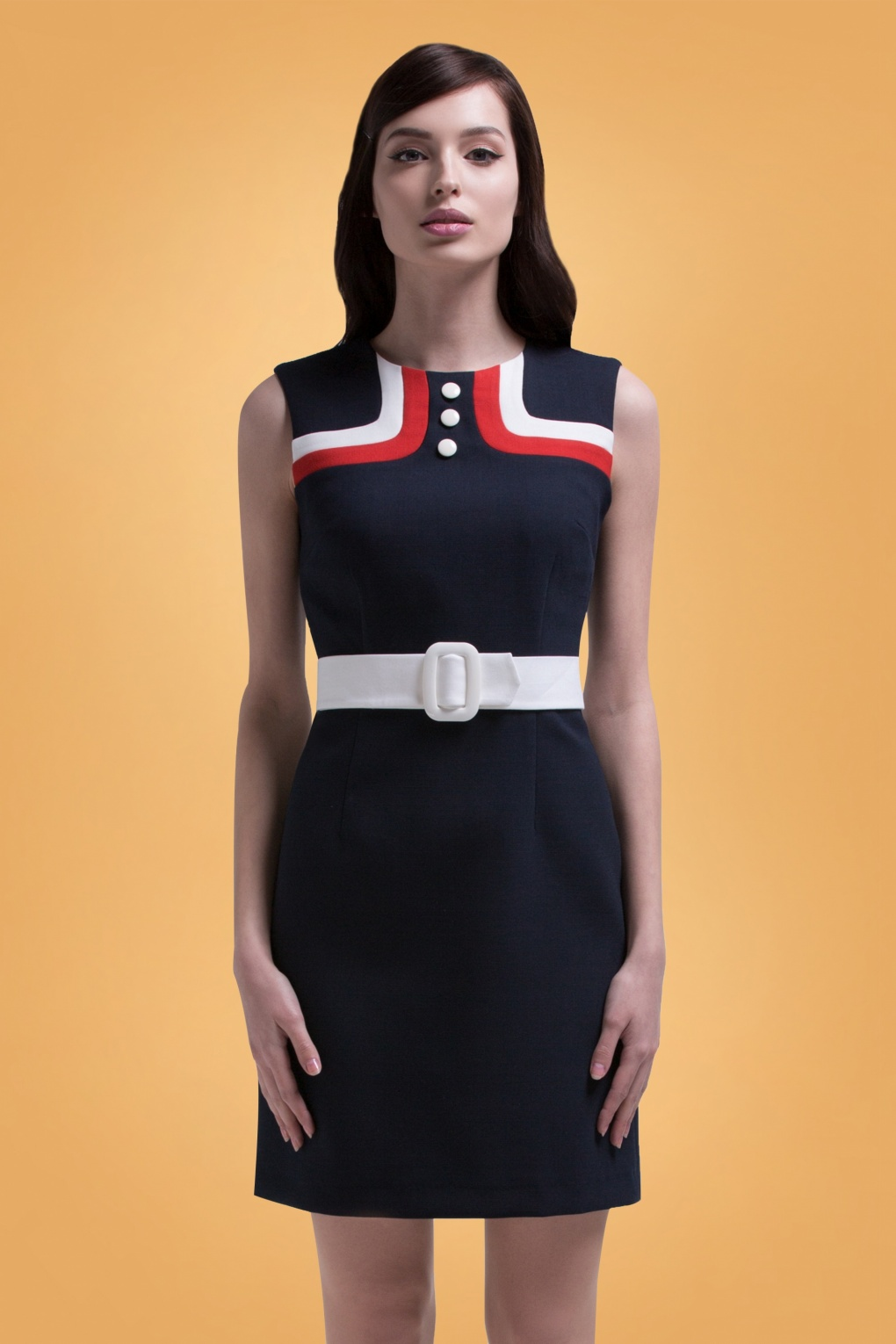 1960s Dresses | 60s Dresses Mod, Mini, Jackie O, Hippie 60s Sally Contrast A-Line Dress in Navy £119.71 AT vintagedancer.com