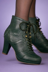 Bettie Page Shoes 50s Adamay Lace Up Booties in Dark Green