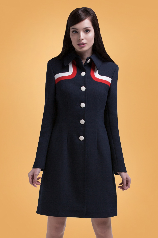 1960s Dresses | 60s Dresses Mod, Mini, Jakie O, Hippie 60s Dalia Contrast Coat in Navy £211.57 AT vintagedancer.com