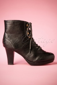 50s Adamay Lace Up Booties in Black