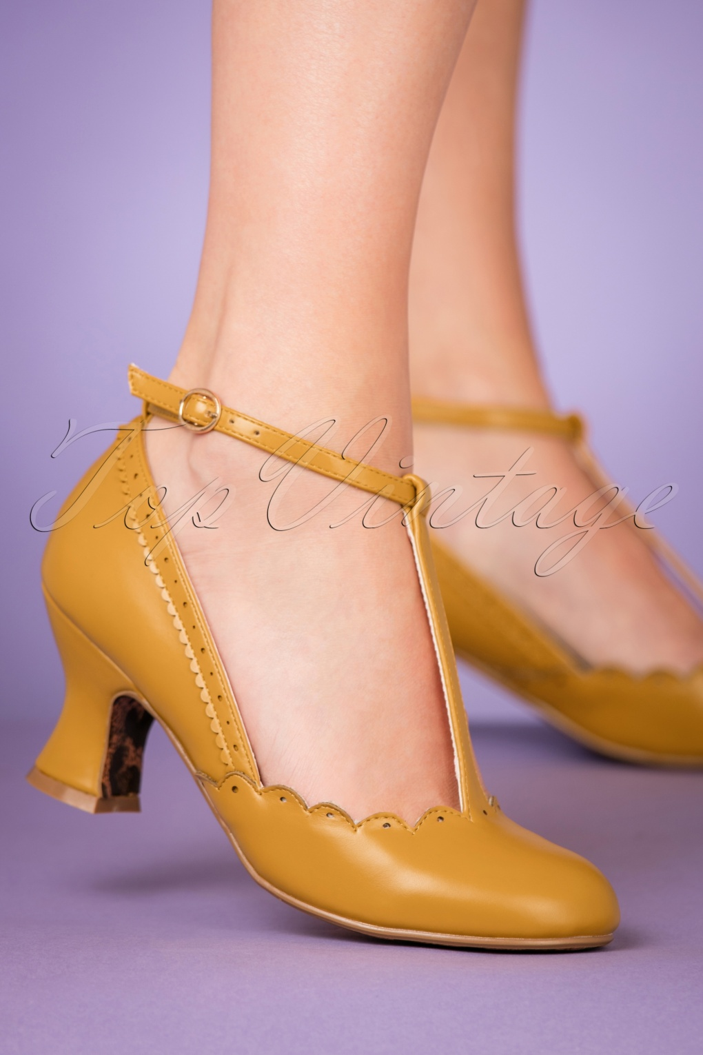 1950s Style Shoes | Heels, Flats, Saddle Shoes 50s Penny T-Strap Pumps in Mustard Yellow £59.15 AT vintagedancer.com