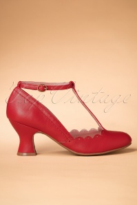 50s Penny T-Strap Pumps in Red