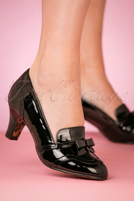 Pin Up Shoes- Heels, Pumps & Flats 50s Sadey Patent Pumps in Black £64.63 AT vintagedancer.com