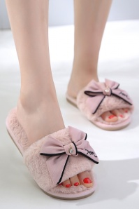 Peach Pretty Bow Slippers DustyPink 189 29 27839 20180426 0001