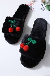 50s Cherry Plush Slippers in Black