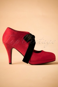 50s Ellen High Heel Shoe Booties in Red