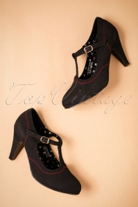 50s Brittany T-Strap Pumps in Black