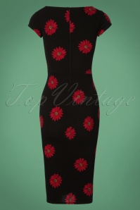 Vintage Chic BlackRed Daisy Flower 100 14 28011 20181031 011W