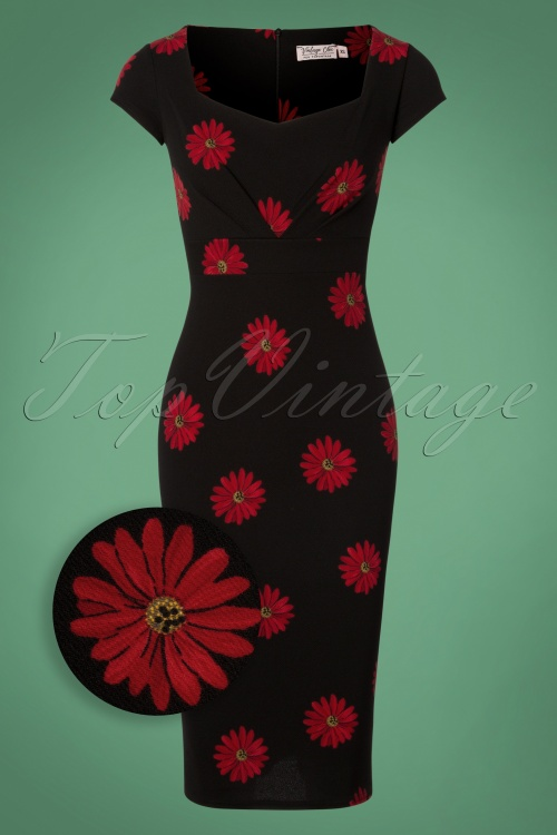 Vintage Chic BlackRed Daisy Flower 100 14 28011 20181031 003Z