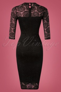 Vintage Chic Black Keyhole Neck Lace Dress 100 10 26451 20181031 025W