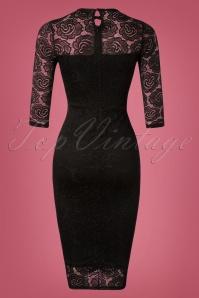 Vintage Chic Black Keyhole Neck Lace Dress 100 10 26451 20181031 025W