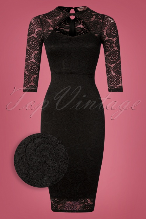 Vintage Chic Black Keyhole Neck Lace Dress 100 10 26451 20181031 007Z