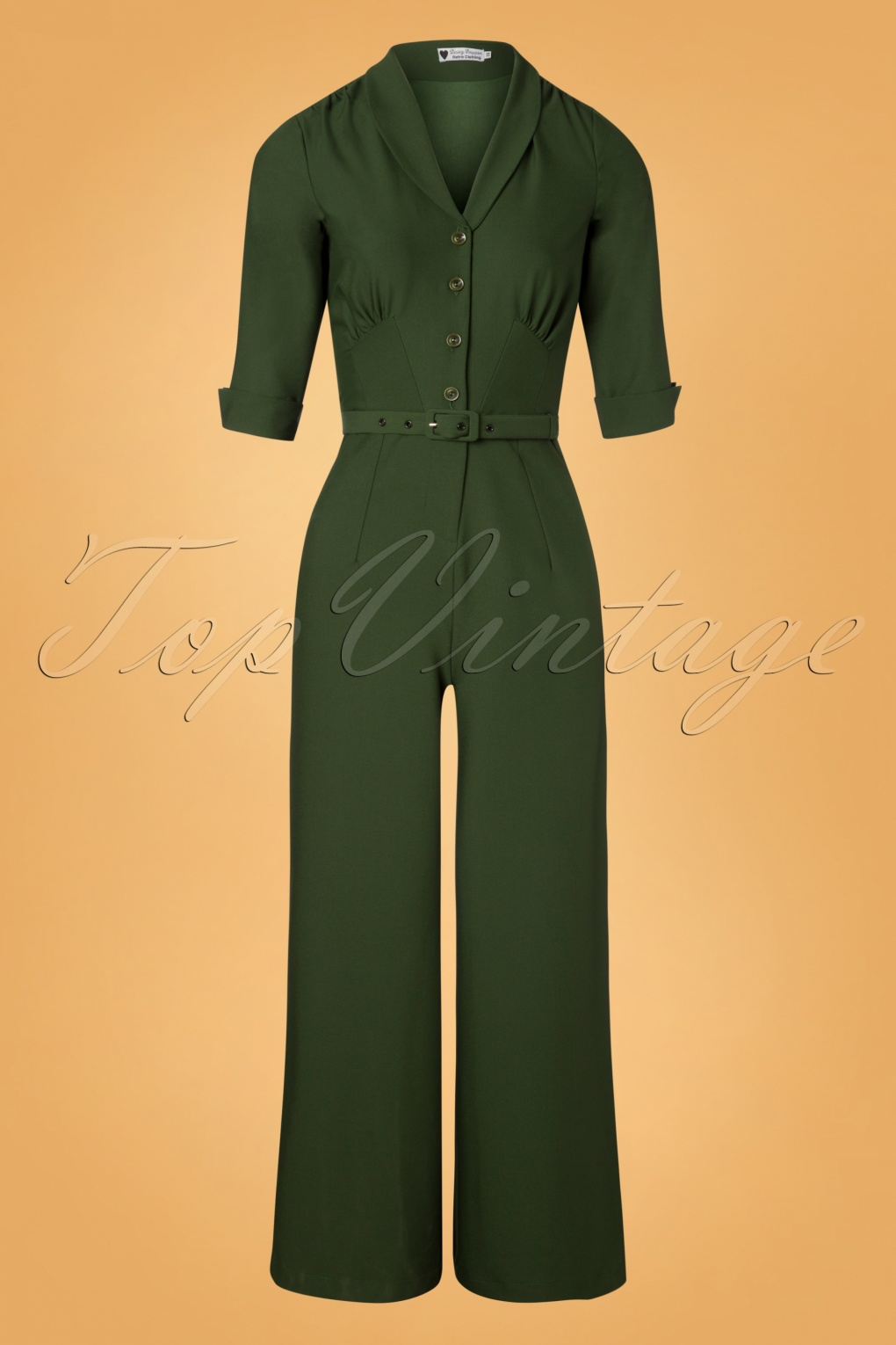 1940s Swing Pants & Sailor Trousers- Wide Leg, High Waist 40s Francine Jumpsuit in Green £133.58 AT vintagedancer.com
