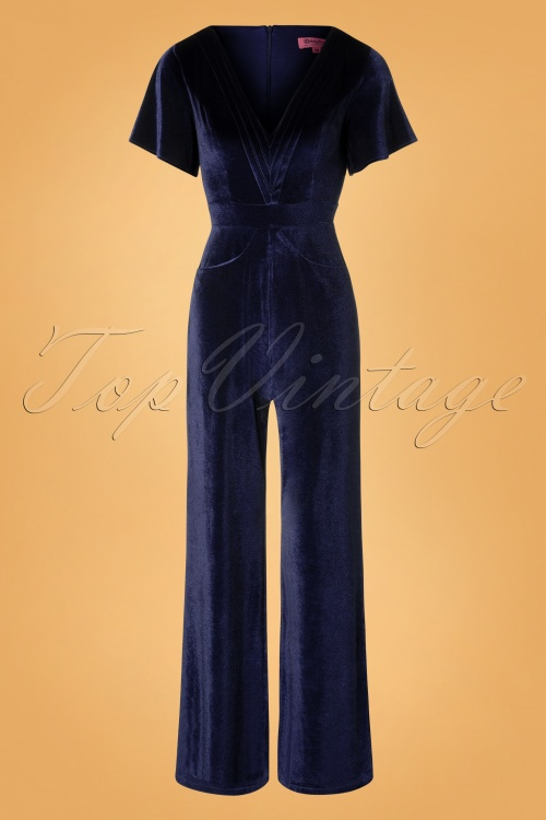 Rebel Love Clothing Dark Blue Velvet Jumpsuit 133 40 27529 20181031 006W