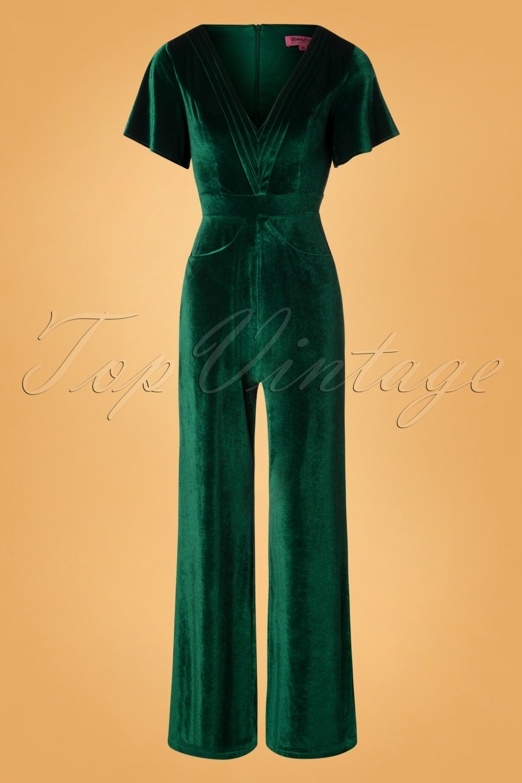 1960s – 70s Cocktail, Party, Prom, Evening Dresses 70s Speakeasy Velvet Jumpsuit in Green £104.73 AT vintagedancer.com
