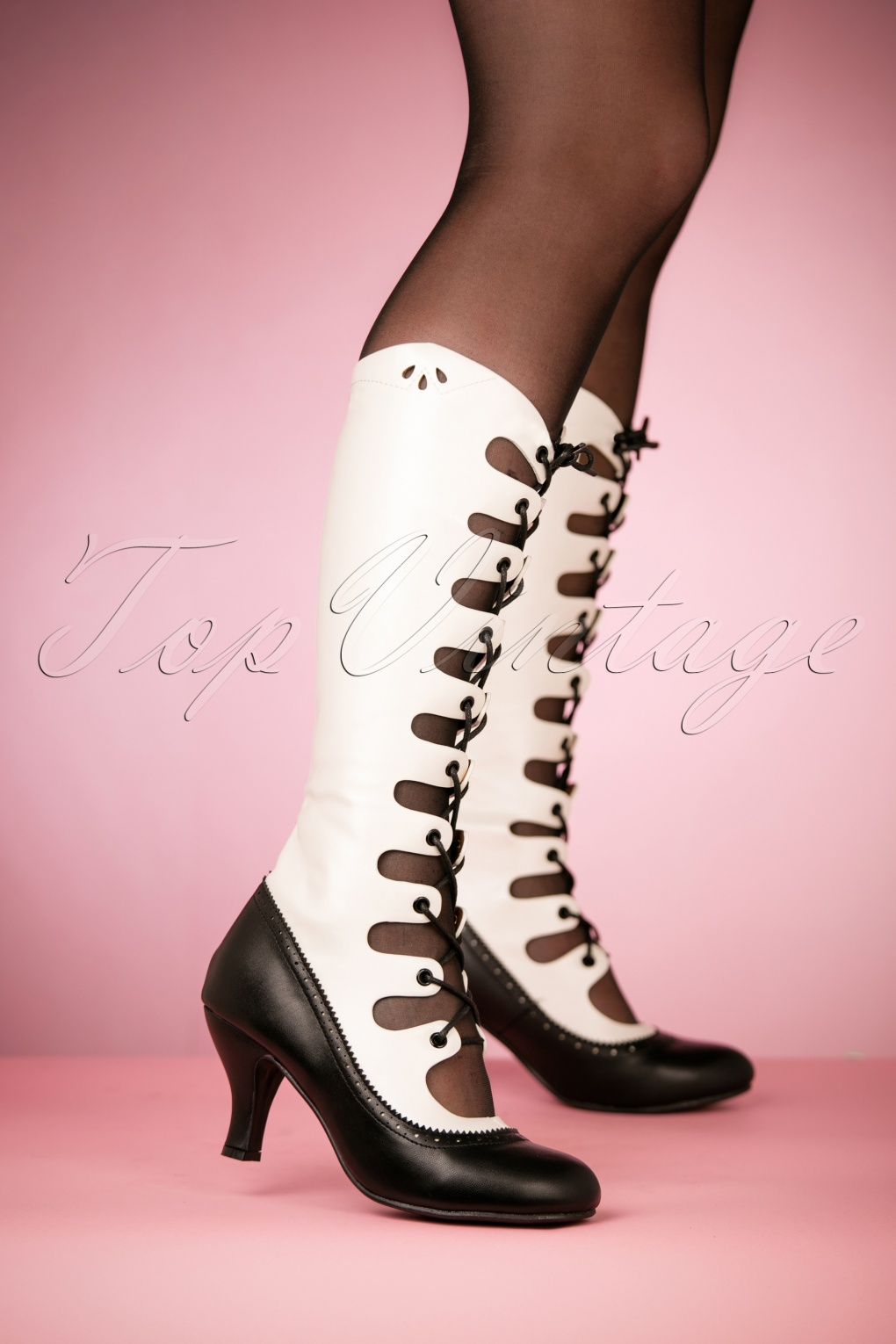 Vintage Style Shoes, Vintage Inspired Shoes 20s Free Bird Boots in Black and White £74.42 AT vintagedancer.com
