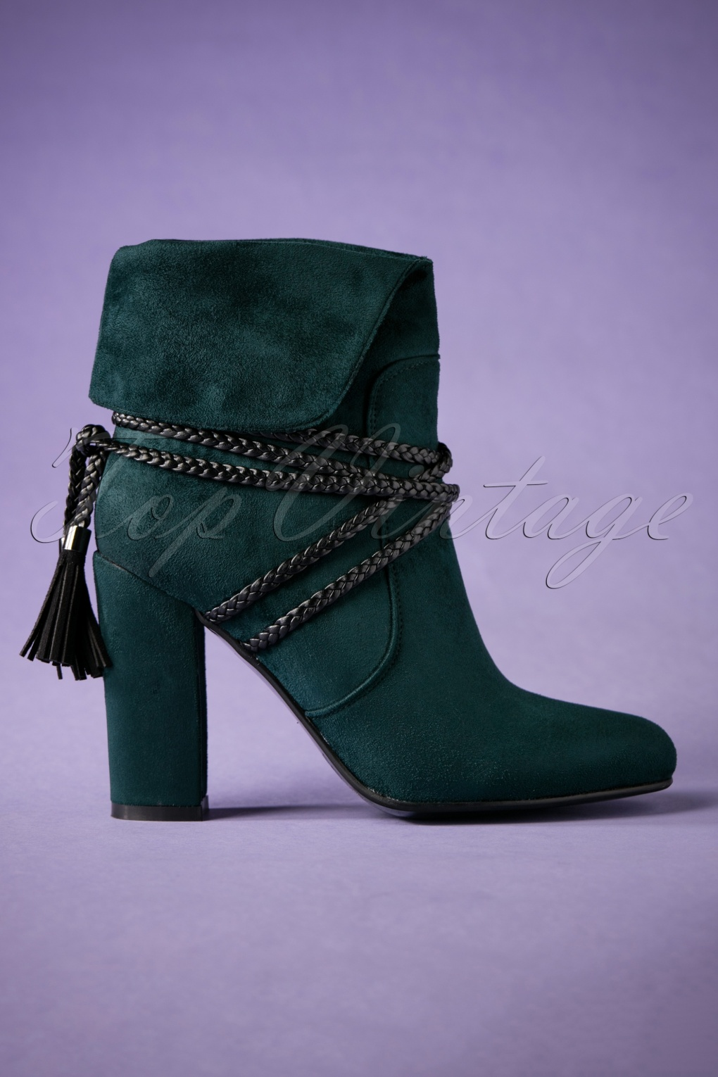 Retro Boots, Granny Boots, 70s Boots 70s Ivy Ankle Booties in Dark Green £88.75 AT vintagedancer.com