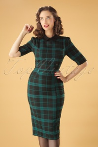 Winona Slither Check Pencil Dress Années 50 en Noir et Vert