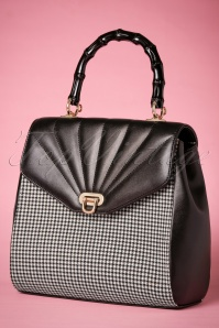 50s Bamboo Lux Handbag in Houndstooth Black