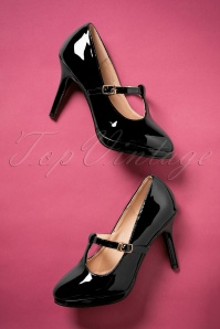 50s Carrie Patent T-Strap Pumps in Black