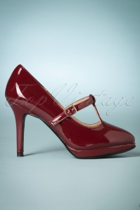 50s Carrie Patent T-Strap Pumps in Burgundy