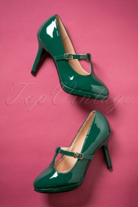 50s Carrie Patent T-Strap Pumps in Opal Green