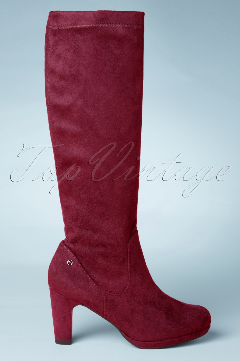 Retro Boots, Granny Boots, 70s Boots 60s Priscilla High Suedine Boots in Burgundy £60.89 AT vintagedancer.com