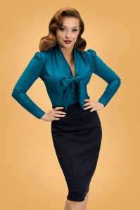 40s Elsa Blouse in Sapphire Blue