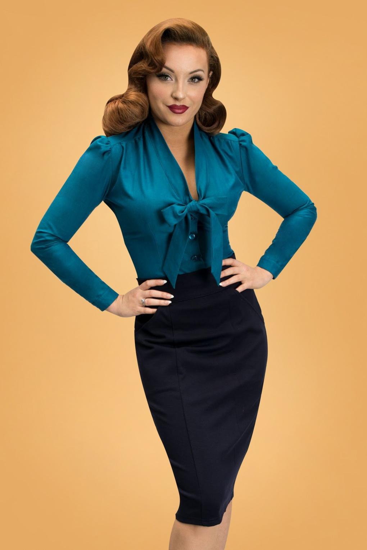 Elsa Blouse Années 40 en Bleu in Sapphire Blue Saphir