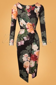 50s Rozlyn Floral Wrap Dress in Black