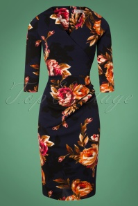 50s Madison Floral Pencil Dress in Midnight Blue