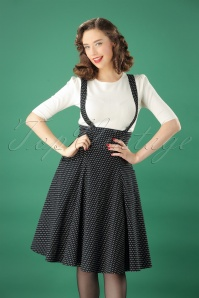 Collectif Clothing 50s Alexa Polka Dot Swing Skirt in Black and White