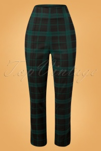 Collectif Clothing Black Green Bonnie Check Trousers 131 49 24874 20180627 003W