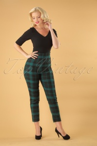 50s Bonnie Slither Check Trousers in Black and Green
