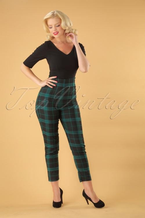 Collectif Clothing Black Green Bonnie Check Trousers 131 49 24874 20180627 000W