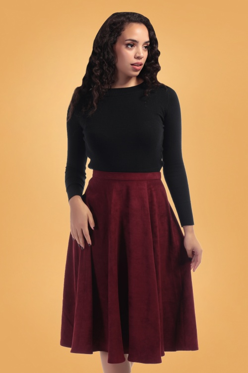 Collectif Clothing Wine 70's Matilde Swing Skirt 122 20 24848 20180626 000bkg