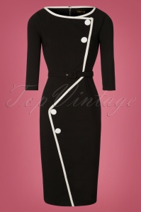 Grace & Glam 60s Spotlight Pencil Dress in Black