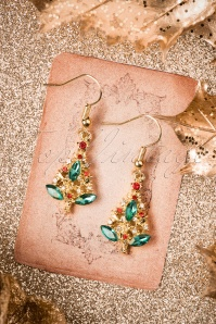 50s Christmas Tree Earrings in Gold