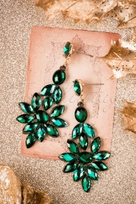 50s Dangle Crystal Earrings in Green