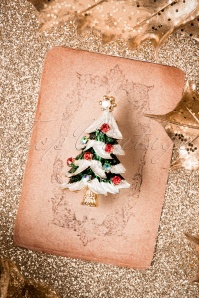 50s Small Christmas Tree Brooch in Gold