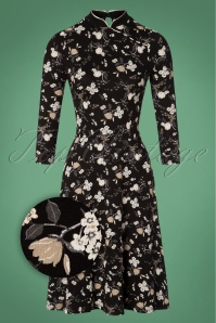 Indochina Floral Dress Années 60 en Noir
