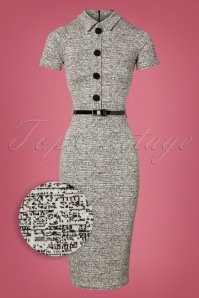 60s Jackie Pencil Dress in Grey Melange