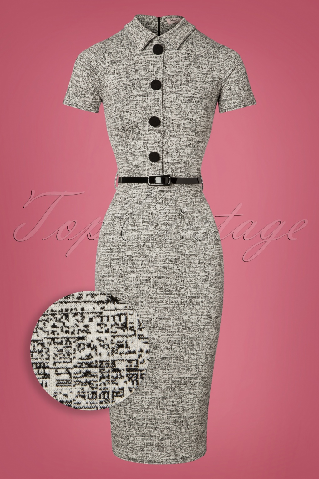 Vintage Style Dresses | Vintage Inspired Dresses 60s Jackie Pencil Dress in Grey Melange £57.73 AT vintagedancer.com