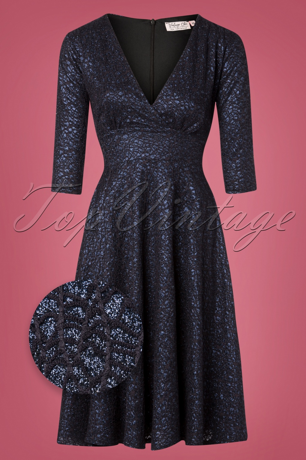 1950s Dresses, 50s Dresses | 1950s Style Dresses 50s Rosie Glitter Swing Dress in Navy £62.31 AT vintagedancer.com