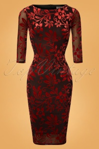 Vintage Chic for TopVintage 50s Deanna Floral Pencil Dress in Brown and Red