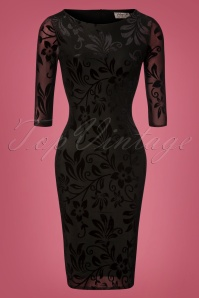 Vintage Chic for TopVintage Deanna Floral Pencil Dress Années 50 en Noir