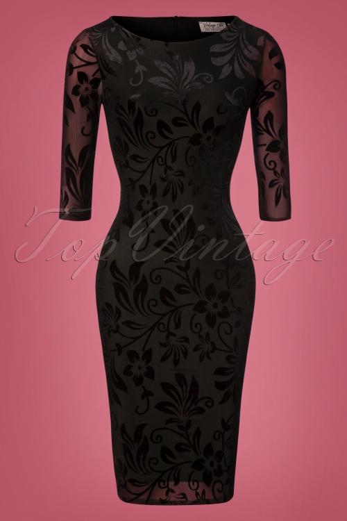 Vintage Chic Devore Fabric Black Floral 100 10 28378 20181102 0398W